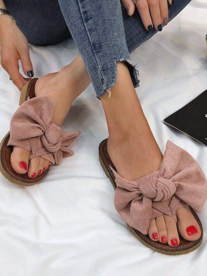 Pink Round Toe Bow Fashion Flat Sandals