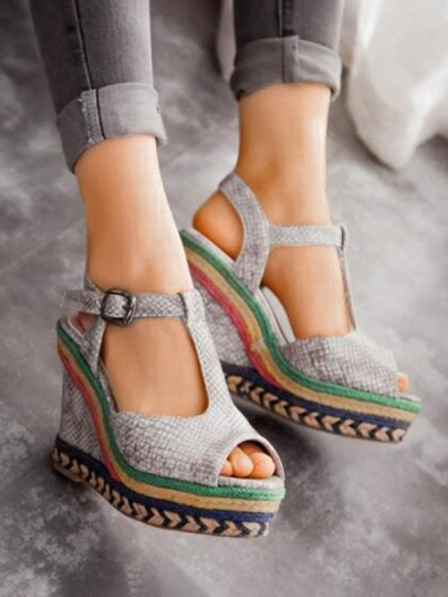 Grey Round Toe Wedges Patchwork Piscine Mouth Fashion High-Heeled Sandals