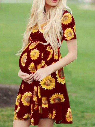 Burgundy Sunflower Pattern Draped Sashes Pleated Casual Maternity Mini Dress
