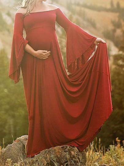 Burgundy Draped Off Shoulder Flare Sleeve Maternity For Babyshower Elegant Maxi Maternity Dress