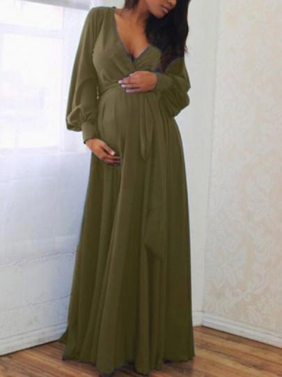 Army Green Sashes Draped Deep V-neck Lantern Sleeve Baby Shower Elegant Party Maternity Dress