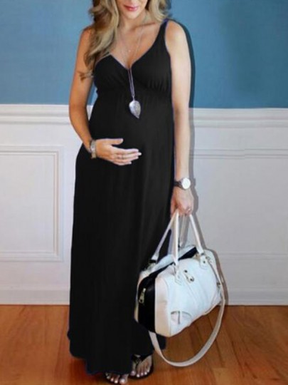 Black Draped Deep V-neck Sleeveless High Waisted Babyshower Maternity Dress