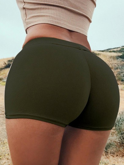 Army Green Patchwork Push Up Slim Elastic Waist High Waisted Fashion Lingerie Panties