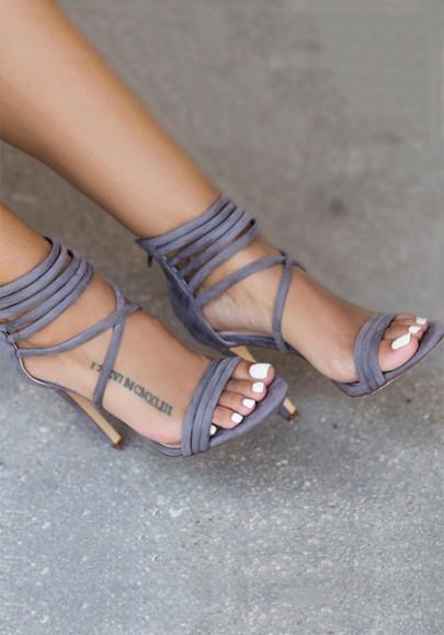 Graue Runde Zehe Stilett Reißverschluss Knöchel Riemchen Beiläufig High-Heels Sandalen Damen Schuhe