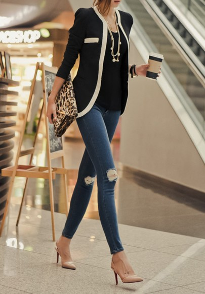 Black Patchwork Pockets Casual Slim Blazer