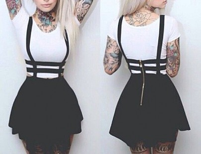 Black Plain High Waisted Skater Straps Casual Suspender Skirt