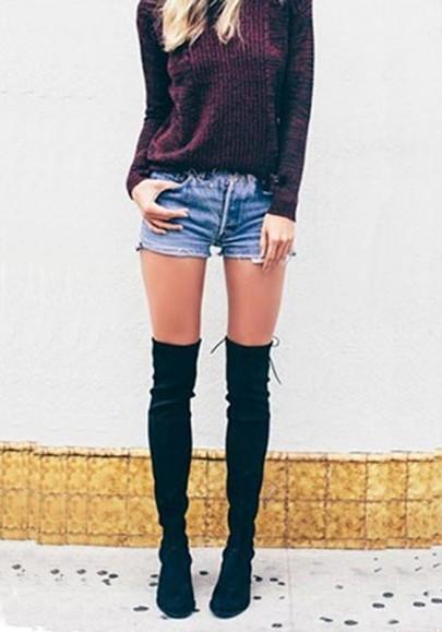 Botas de punta redonda casuales grueso sobre de la rodilla negro