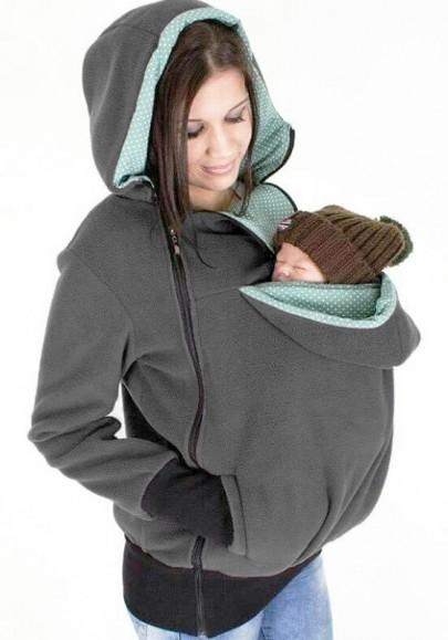 Sweatshirt à capuche kangourou portage bébé fermeture éclair manches longues occasionnel femme gris