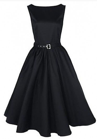 Black Plain Belt Pleated Boat Neck Vintage Dress