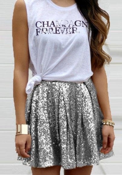 Silver Patchwork Sequin Glitter Pleated Homecoming Party Cute Elastic Waist Sweet Skirt