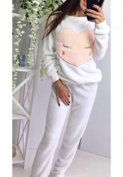 White Love Print 2-in-1 Mid-rise Cute Pajamas Long Jumpsuit