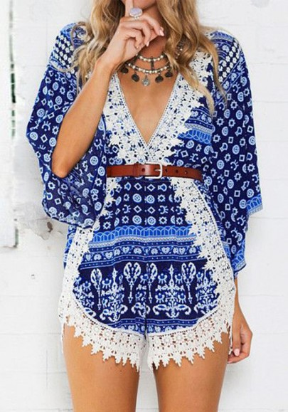 Blue Floral Patchwork Lace Plunge High Waisted Short Jumpsuit