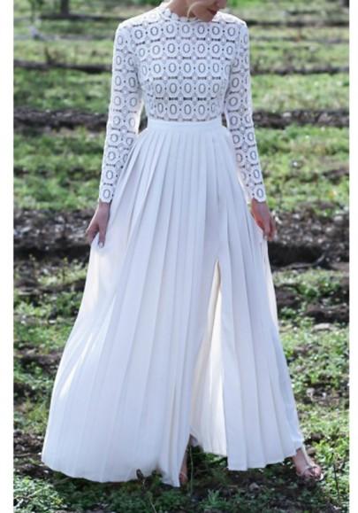 Robe longue avec dentelle mousseline plissé fendu le côté manches longues élégant blanc