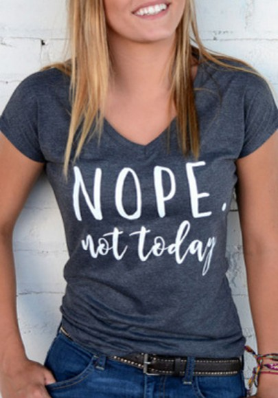Grey Monogram Nope Not Today Print V-neck Short Sleeve Casual T-Shirt