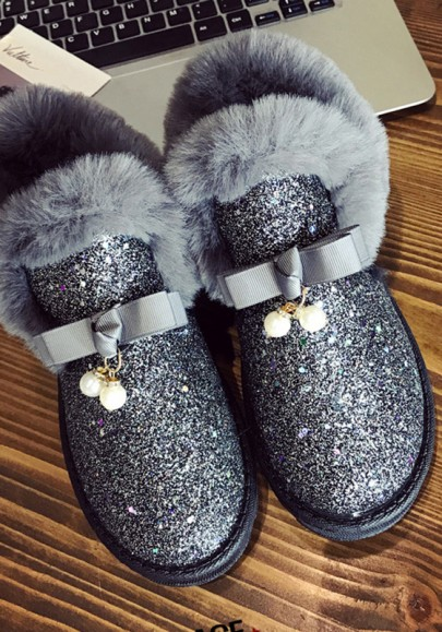 Chaussures bout rond mode paillette plat cheville gris