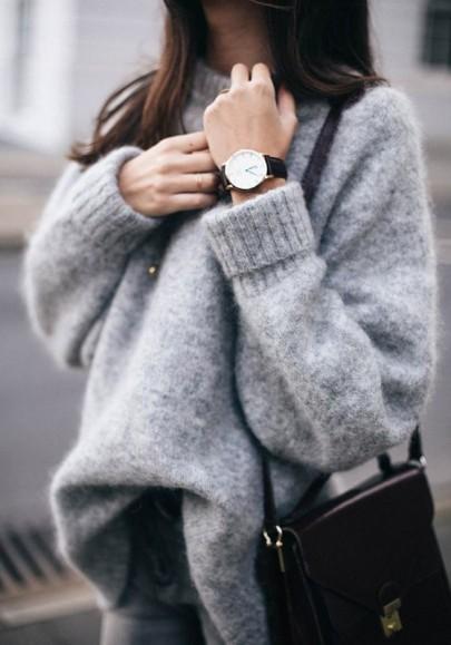 Maglione v-collo manica lunga oversize casuale grigio