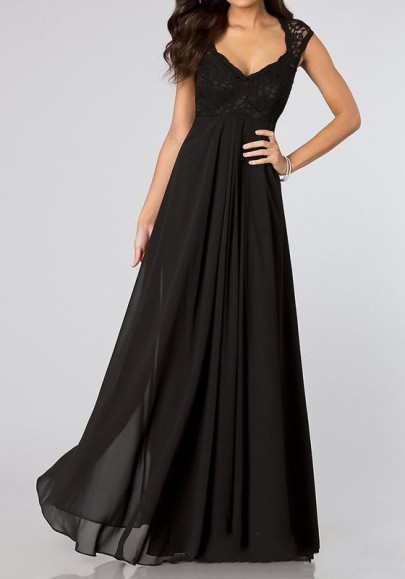 Black Patchwork Pleated Scoop Neck Elegant Chiffon Maxi Dress