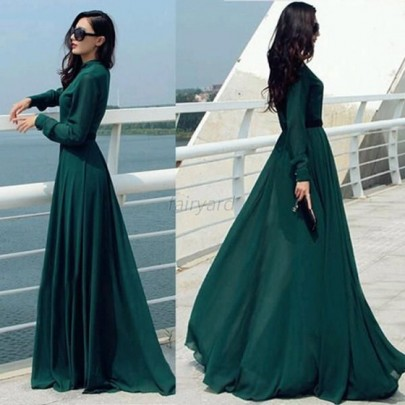 Green Plain Buttons Band Collar Floor Length Vintage Maxi Dress
