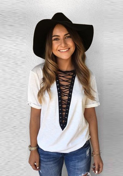 White-Black Patchwork Hollow-out Deep V-neck Short Sleeve Casual T-Shirt
