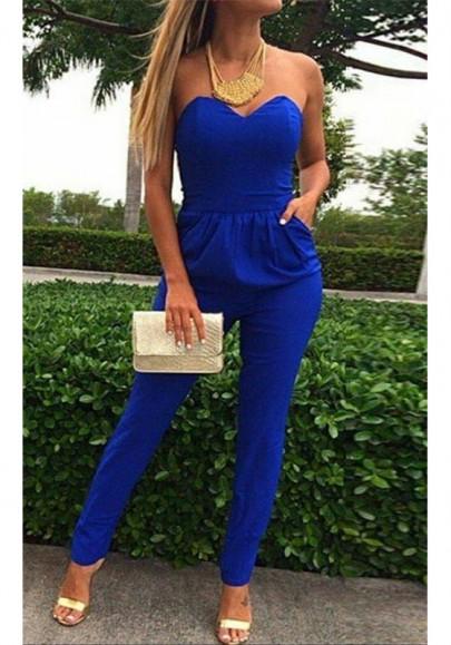 Blue Plain Bandeau Pockets Sexy Long Jumpsuit