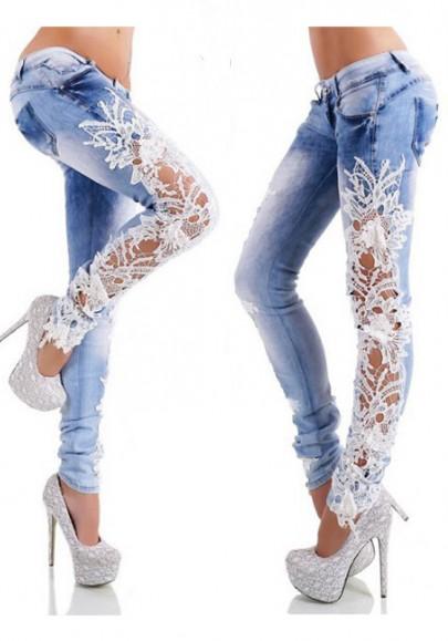 Light Blue Patchwork Buttons Pockets Zipper Hollow-out Long Jeans