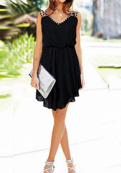 Mini-robe en mousseline plissé strass irrégulière v-cou élégant de cocktail noir