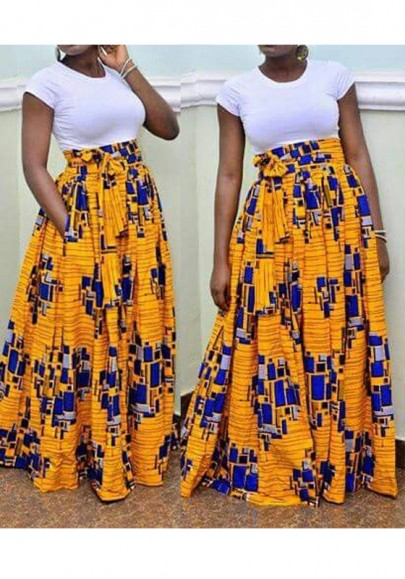 Jupe longue en wax drapé taille haute mode jaune femme