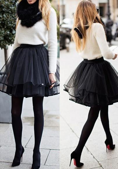 Black Plain Pleated Tiered Mini Chiffon Skirt
