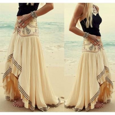 Beige Asymmetric Bohemian Maxi Skirt
