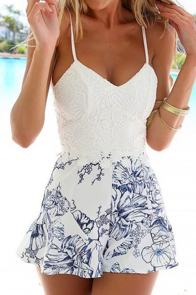 White Floral Lace Spaghetti Straps Backless Short Romper