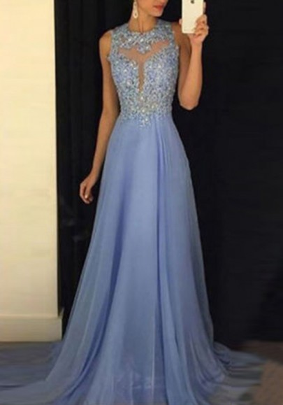 Sky Blue Sequin Grenadine Draped Backless Banquet Elegant Prom Party Maxi Dress