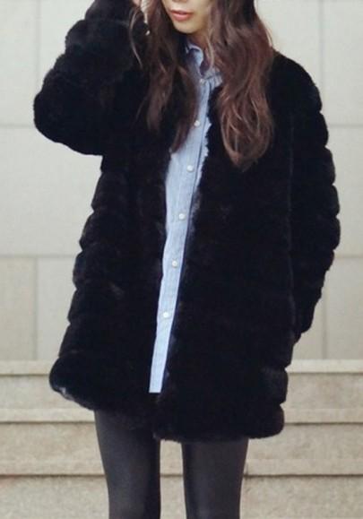 Manteau en fausse fourrure manches longues ouverte femme mode hiver noir