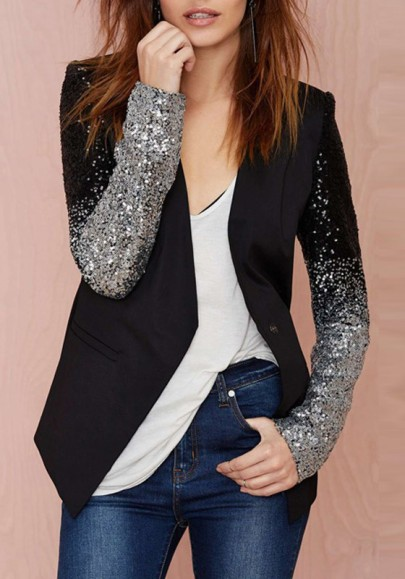 Paillettes blazer patchwork à sequins mode noir