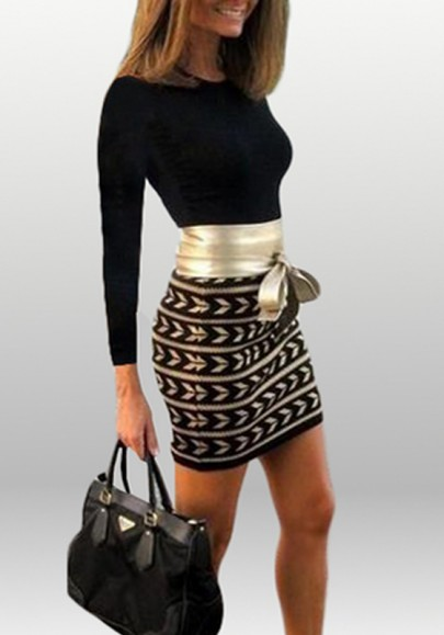 Black Patchwork Striped Belt Print Round Neck Mini Dress