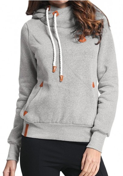 Light Grey Plain Badge Drawstring Cowl Neck Vogue Hooded Casual Pullover Sweatshirt