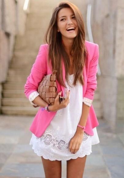 Blazer llano botones bolsillos muesca solapa la oficina todos los días de rosa carmín