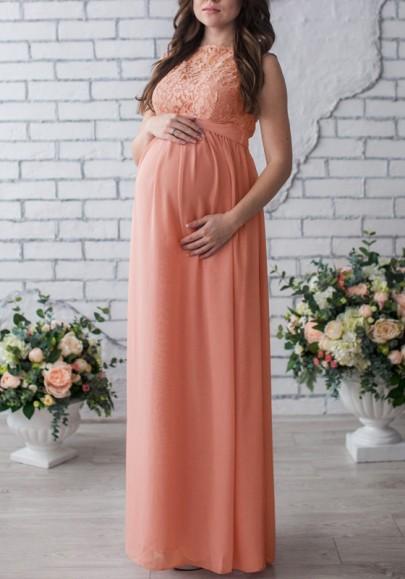 Rosa Splicing Spitze Rundhals Ärmellos Gürtel Elegantees Maxikleid Umstandskleid Mutterschaft Kleid Abendkleid Für Schwangere
