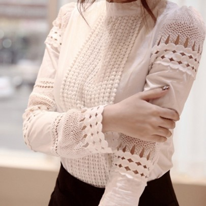 White Lace Patchwork Round Neck Long Sleeve Elegant Blouse