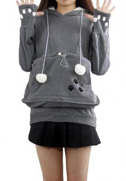 Grau mit Kapuzen Katzenohren Haustier Känguru Katzentasche Pullover Hoodie Sweatshirt Damen Mode