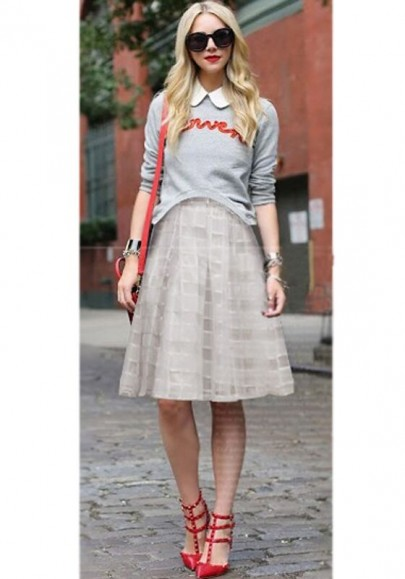White Plaid Double-deck High Waisted Zipper Chiffon Skirt