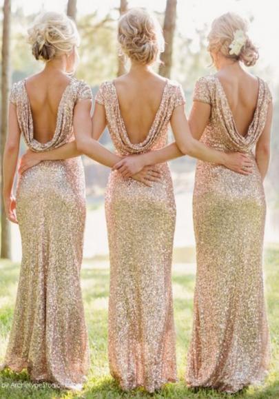 Golden Plain Sequin Backless Short Sleeve Maxi Dress