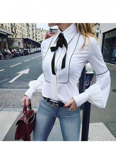 White Buttons Ruffle Bow Turndown Collar Long Sleeve Fashion Blouse
