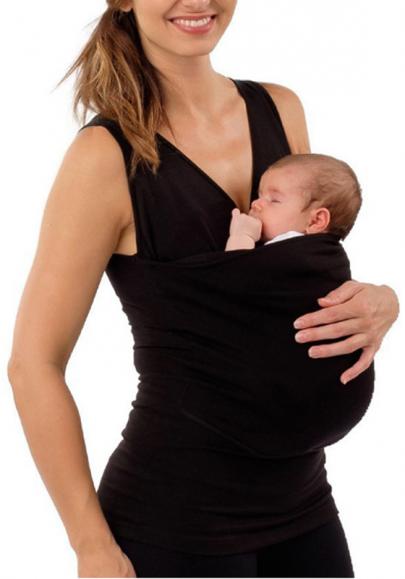 Schwarze Taschen Runde Hals Lässige Beiläufige Dünne Weste Babytrage Shirt