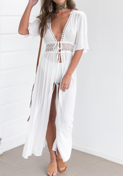 Robe maxi longue avec dentelle manches au coude mode boho bikini cover up blanche