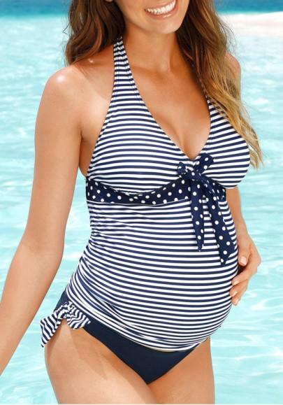 Maillot de bain de enceinte rayé avec noeud papillon 2 pièces grossesse tankini femme bleu et blanche