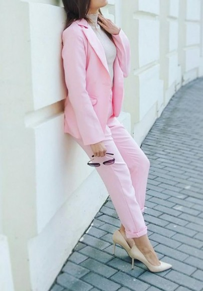 Pink Pockets Buttons Two Piece V-neck Long Sleeve Suit Long Jumpsuit