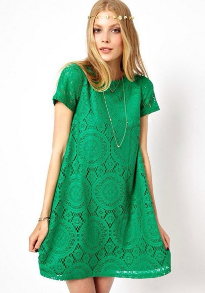 Green Lace Embroidery Short Sleeve Cotton Blend Dress