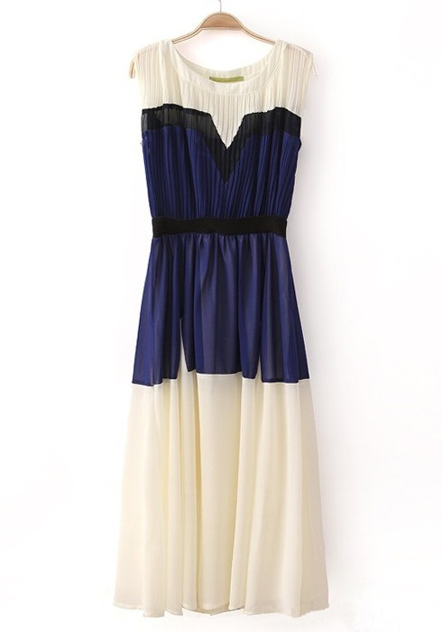 Blue Patchwork Pleated Round Neck Sleeveless Chiffon Dress