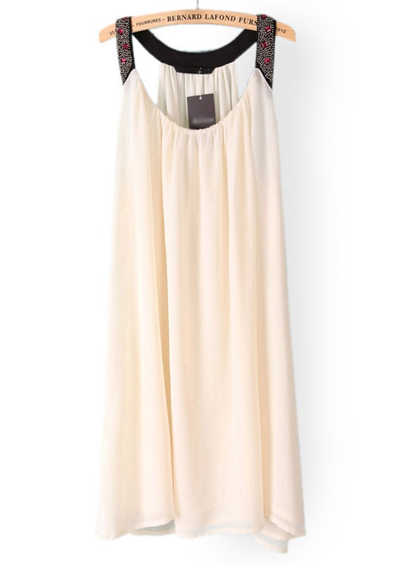 White Rhinestone Beading Irregular Sleeveless Chiffon Dress