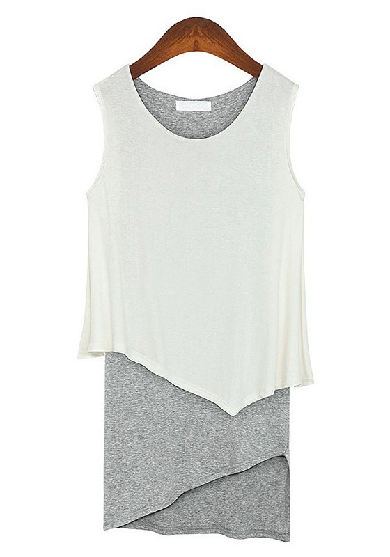 White-Grey Asymmetric Round Neck Sleeveless Cotton Dress